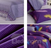 Vintage Purple Colorful Feather Pattern Purified Cotton 3