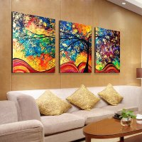 Fantastic Modern Oil-Painting Style Abstract Tree 3-Panel ...
