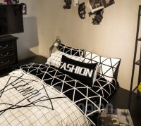 Modern White and Black Geometric Printing 4-Piece Duvet ...