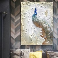 Delicate Three-dimensional Sculpture Peacock Wall Art ...
