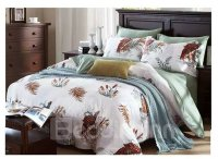 Soft American Country Style Floral 4-Piece Print Cotton ...