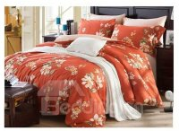 American Country Style Big Flowers 4-Piece Print Cotton ...