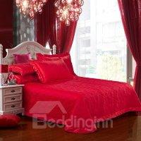Bright Red Romantic Big Flowers Jacquard 4-Piece Bamboo ...