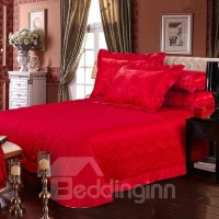 Romantic Bright Red Roses Jacquard 4-Piece Bamboo Fabric ...