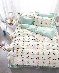 Chic Yoga Coach Design 100% Cotton 4-Piece Duvet Cover ...