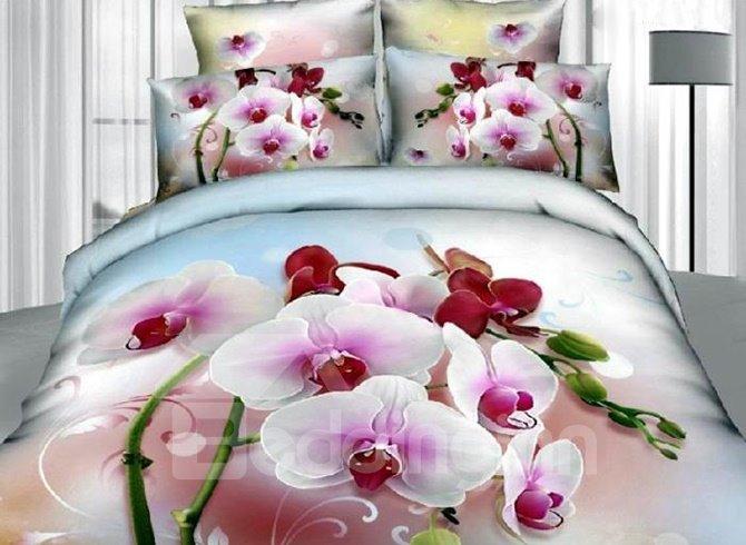 Pretty Charming Phalaenopsis Print 4 Pieces Bedding Sets