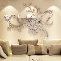 Modern Beautiful Mirror Flowers Shape Wall Stickers