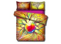 Colorful Peacock Feather Pattern 4-Piece Cotton Duvet ...