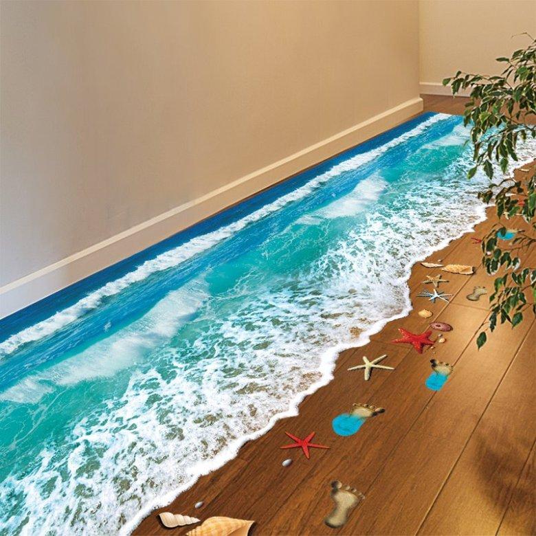 Wonderful Seashore and Sea Spray Removable 3D Floor Sticker