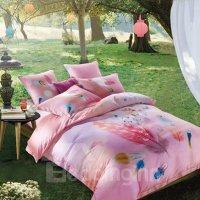 Fancy Colorful Feather Print Pink 4-Piece Cotton Duvet ...