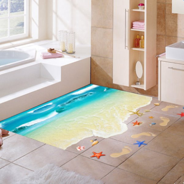 Fantastic Beach and Footprints Pattern Home Decoration 3D Floor Stickers