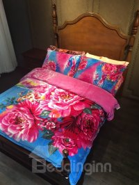 Bright Red Peony Print 4-Piece Flannel Duvet Cover Sets ...
