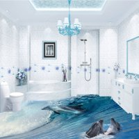 Awesome Dolphins in Sea Wave Pattern Bathroom Decoration ...