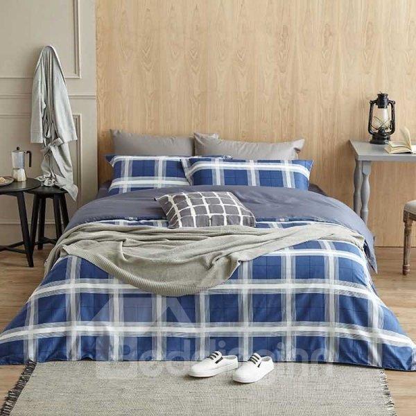 Unique Navy Blue Plaid Print 4-Piece Cotton Duvet Cover Sets - beddinginn.com