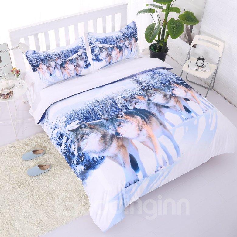 Lifelike Snow Wolf Digital Printing 5-Piece Comforter Sets