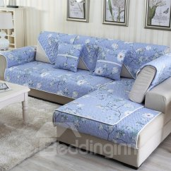 Rose Sofa Slipcover Artwork Soft Country Style White Flowers Pattern Washable Cushion ...
