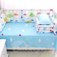 Cute Colorful Clouds Pattern 9-Piece Cotton Baby Crib ...