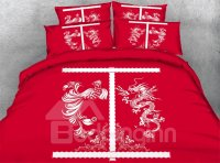 Chinese Dragon and Phoenix Print 4-Piece Duvet Cover Sets ...