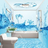 Creative Fresh Blue Water Flowers Pattern Waterproof 3D ...