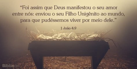 Foi assim que Deus manifestou o seu amor entre nós: enviou o seu Filho Unigênito ao mundo, para que pudéssemos viver por meio dele. 1 João 4:9