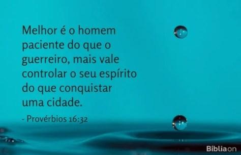 Melhor é o homem paciente do que o guerreiro, mais vale controlar o seu espírito do que conquistar uma cidade. Provérbios 16:32
