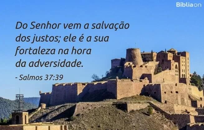 Do Senhor vem a salvação dos justos; ele é a sua fortaleza na hora da adversidade. Salmos 37:39