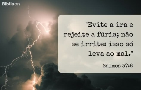 Evite a ira e rejeite a fúria; não se irrite: isso só leva ao mal. Salmos 37:8