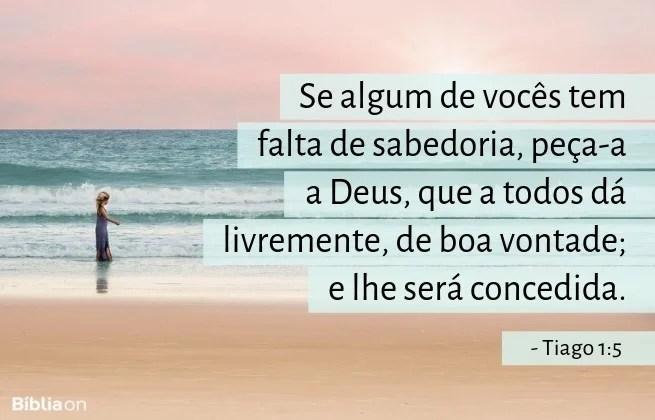 Se algum de vocês tem falta de sabedoria, peça-a a Deus, que a todos dá livremente, de boa vontade; e lhe será concedida.Tiago 1:5