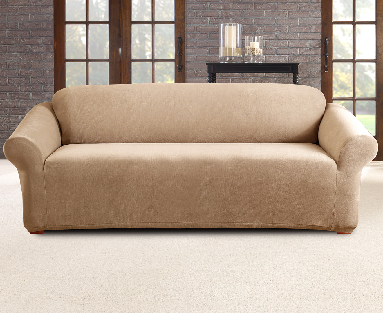 surefit pearson sofa cover pottery barn slipcovered bed sure fit stretch 3 seater flax great daily