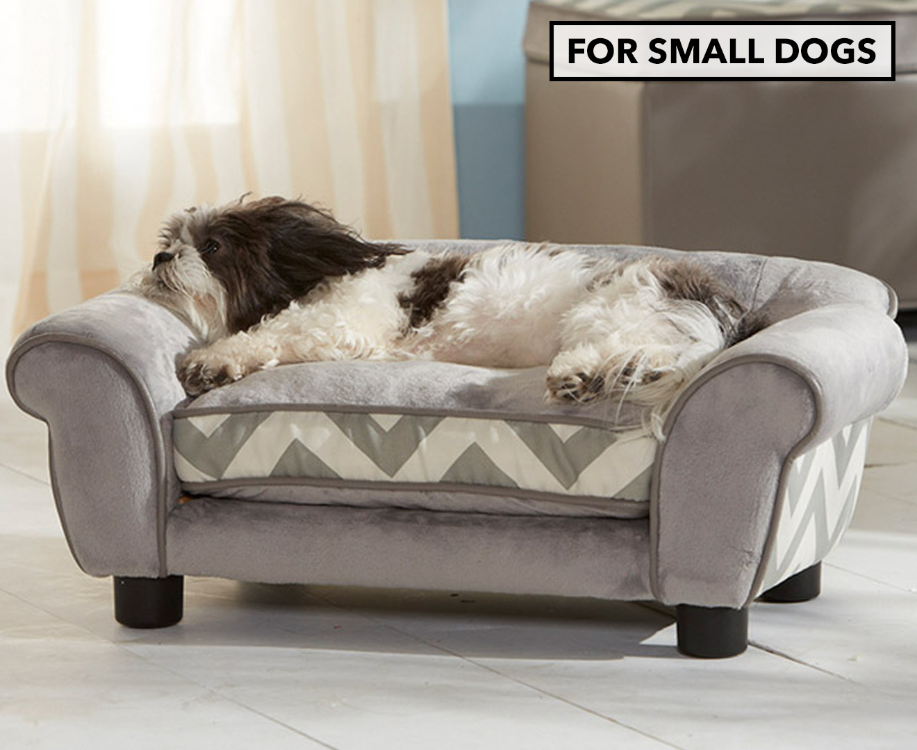 enchanted home mackenzie pet sofa sectional size plush couch bed for small dogs grey