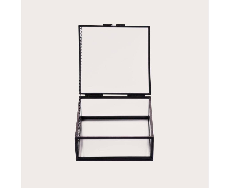 Zoobibi Houdini Small Glass Jewellery Storage Display Box In Black