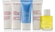 Clarins French Beauty Box: 1x Cleanser 30ml, 1x HydraQuench Cream 30ml, 1x Beauty Flash Balm 30ml, 1x Body Treatment Oil, 1x B/L 5pcs