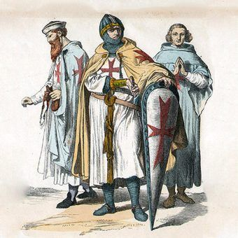 """Templariusze narysunku zpopularnej wII połowie XIX wieku serii """"Münchener Bilderbogen"""" (domena publiczna)."""