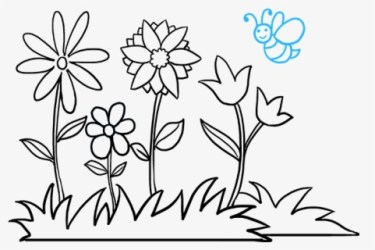 How To Draw Flower Garden Easy To Draw Garden Free Transparent Clipart ClipartKey