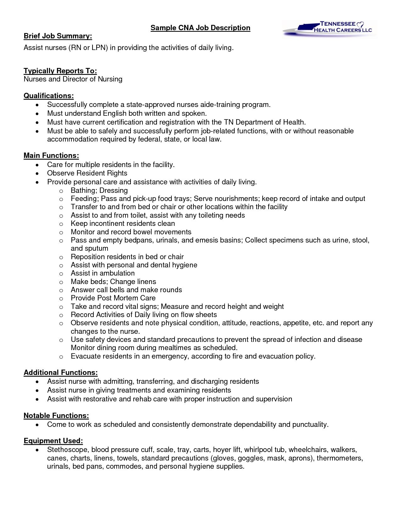 Sample Cna Job Description