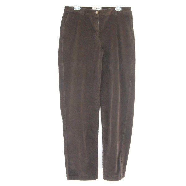 L Bean Straight Fit Misses Brown Corduroy Pants Size 12 Tall