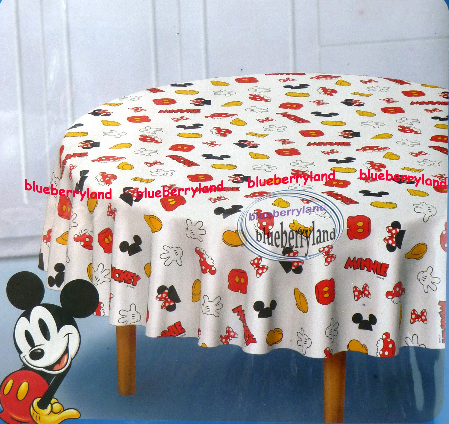 Disney Mickey Mouse Polyster Table Cloth Round 60 x 60  home