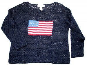 Navy Blue Open Crochet Independence Day USA Flag Tacky Ugly Sweater Women's Size Medium (M)