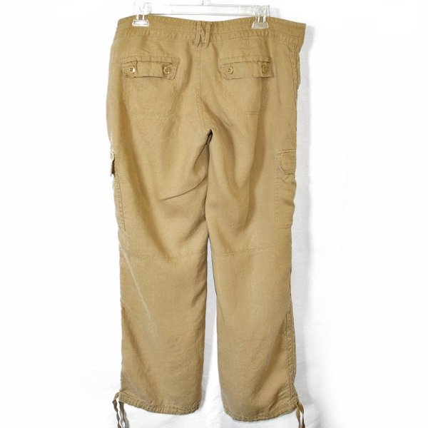 Navy Ultra Rise Waist Linen Cargo Pants Women'