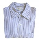 Banana Republic Blue & White Ticking Stripe Linen Oxford Shirt Men's Size Large (L)