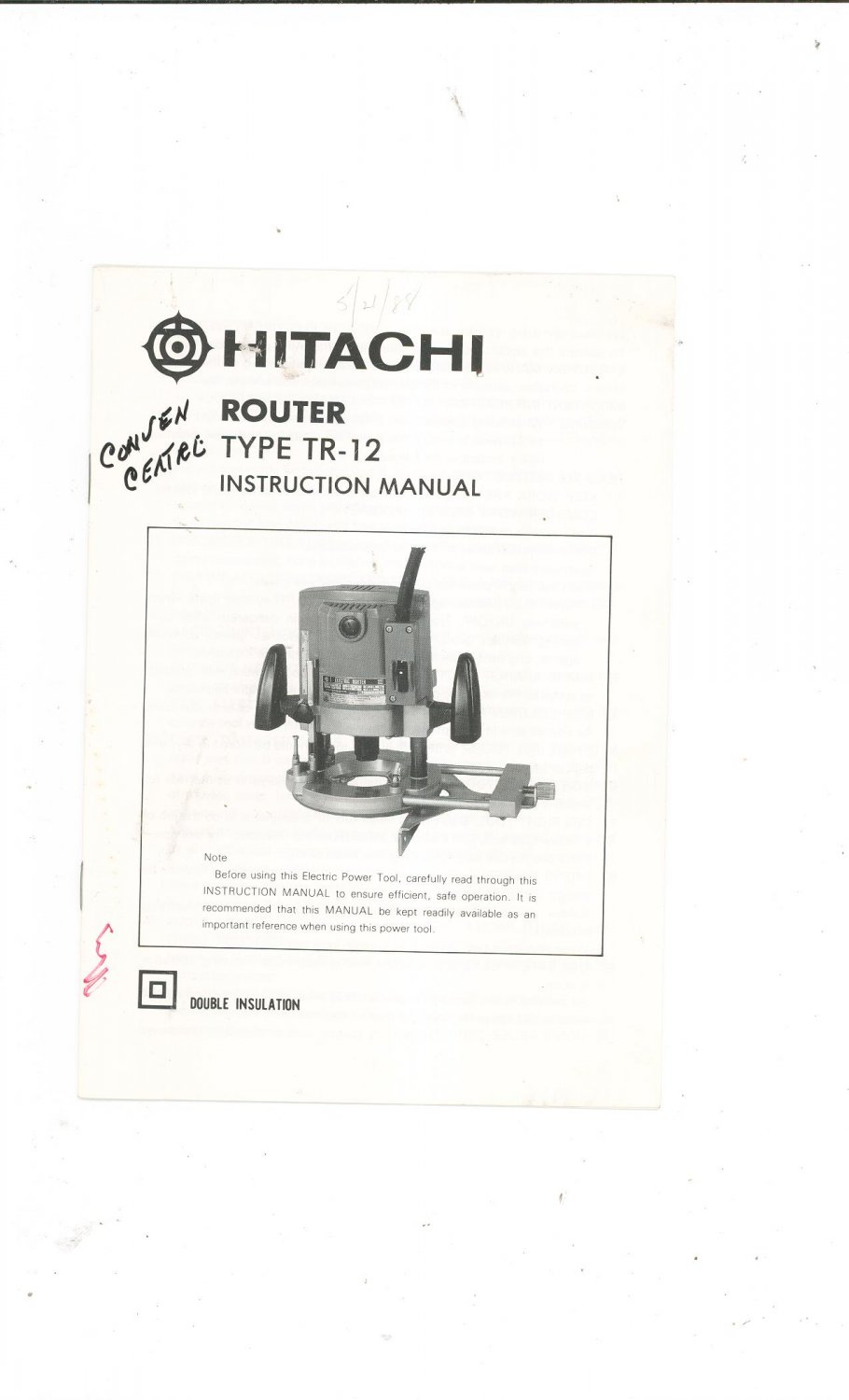 Hitachi Router Type TR-12 Instruction Manual