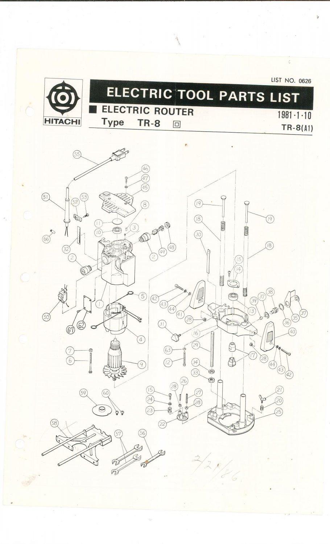 Hitachi Electric Router Type TR-8 Parts List