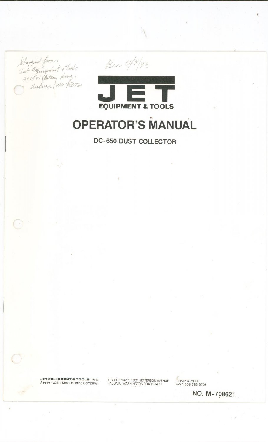 Jet Dust Collector DC 650 Operator's Manual