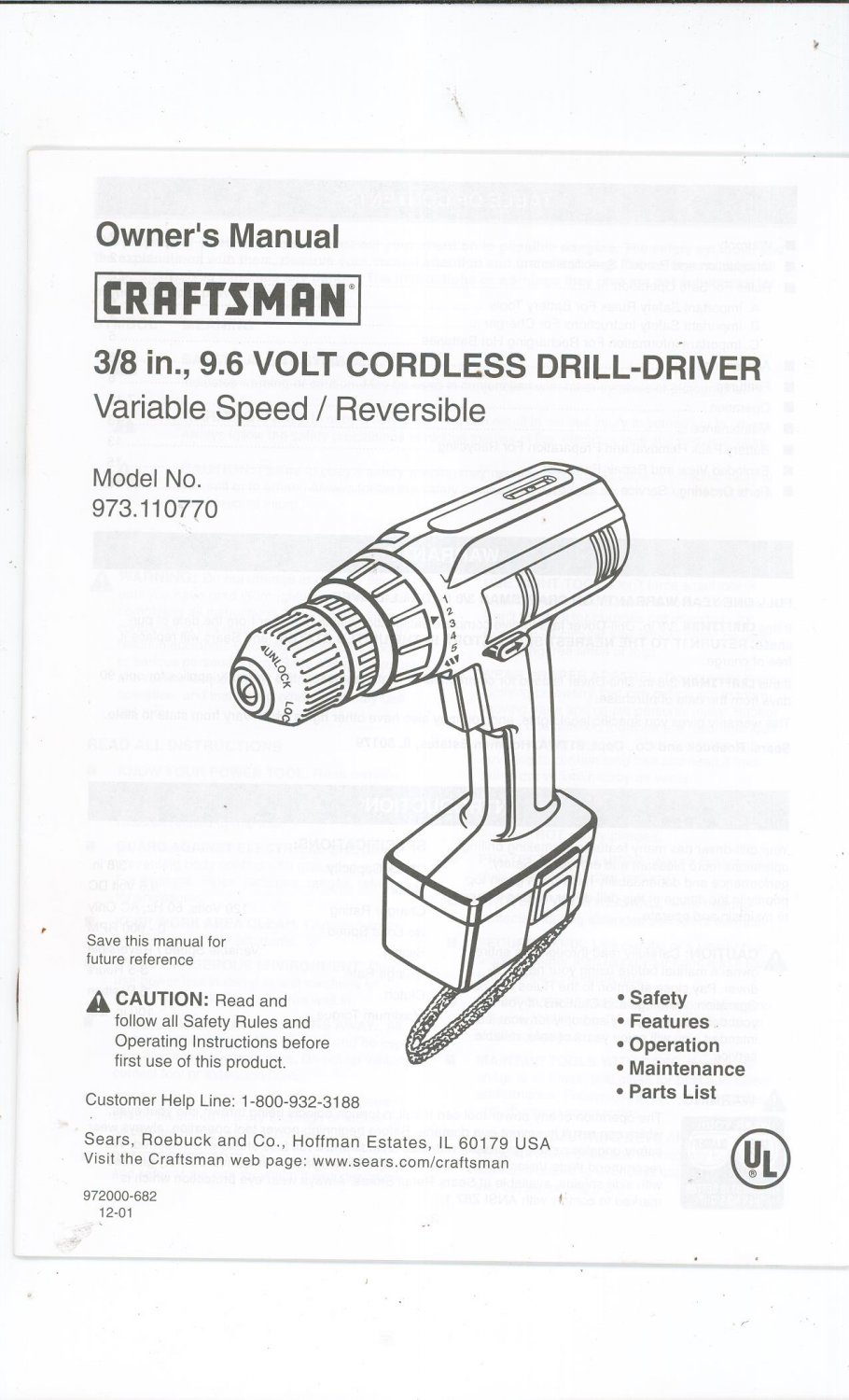 Craftsman Variable Speed Cordless 3/8 In. Cordless Drill