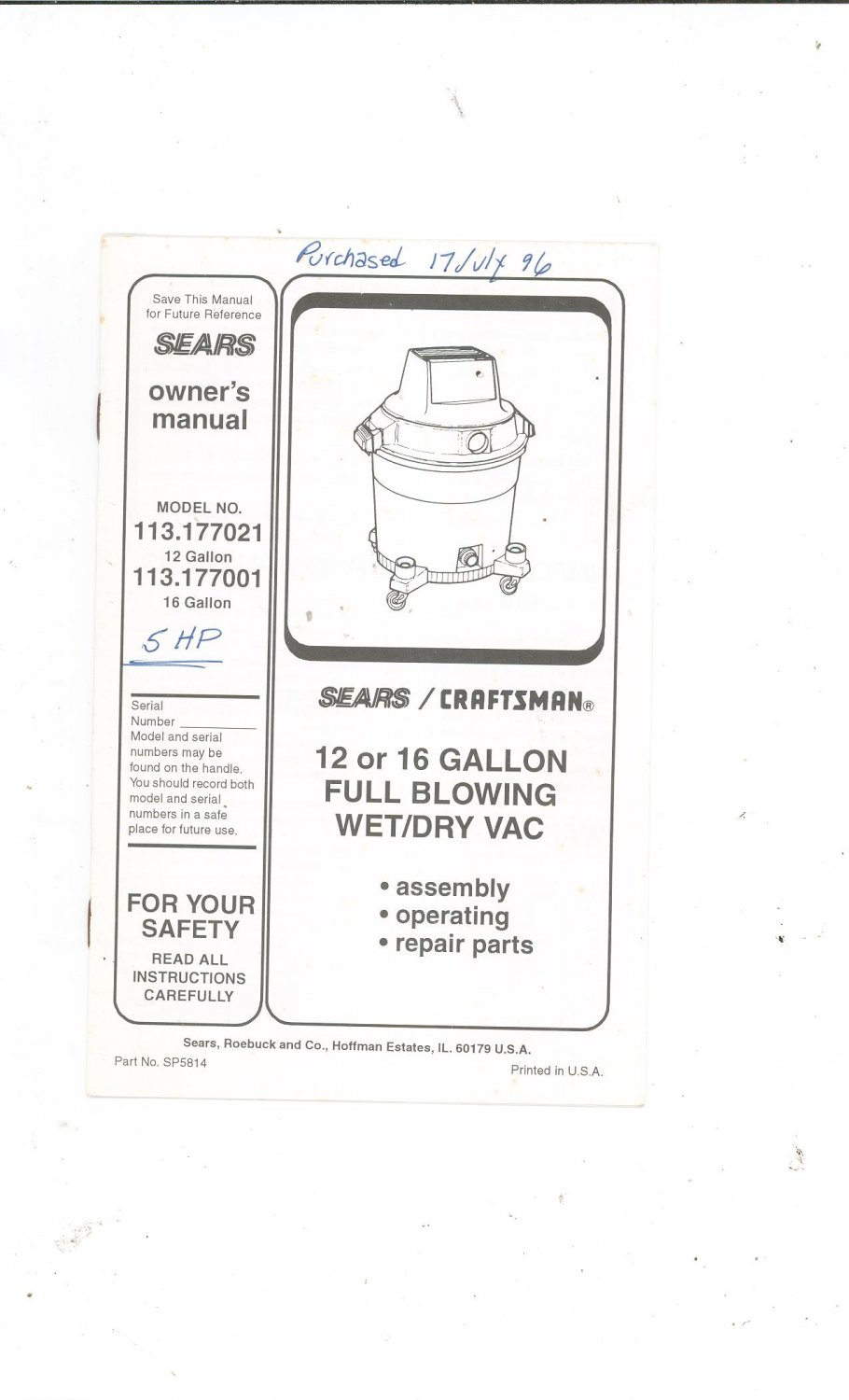 Sears Craftsman 12 or 16 Gallon Full Blowing Wet Dry Vac
