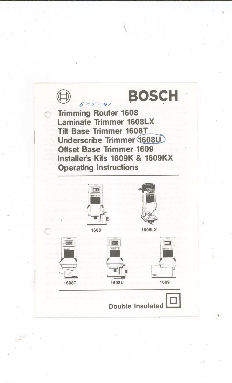 Bosch Router Model 1608 1609 LX T U K KX Operating
