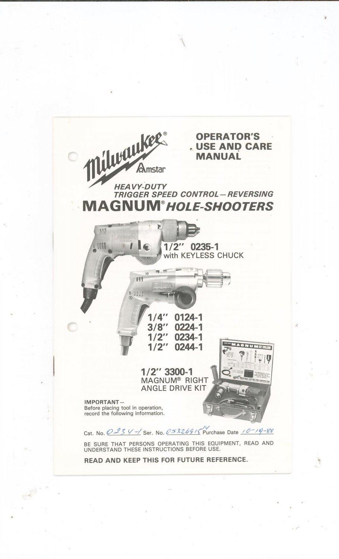 Milwaukee Magnum Hole Shooters Model 0235 3300 0124 0224