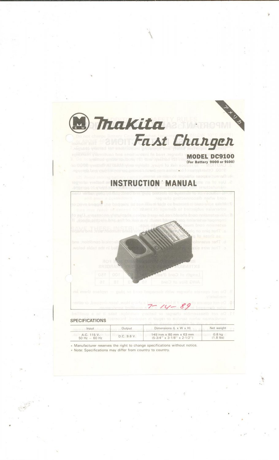 Makita Fast Charger Model DC9100 Instruction Manual Not PDF