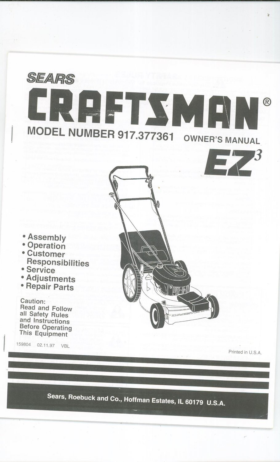 Sears Craftsman Lawn Mower EZ3 Model 917.377361 Operating