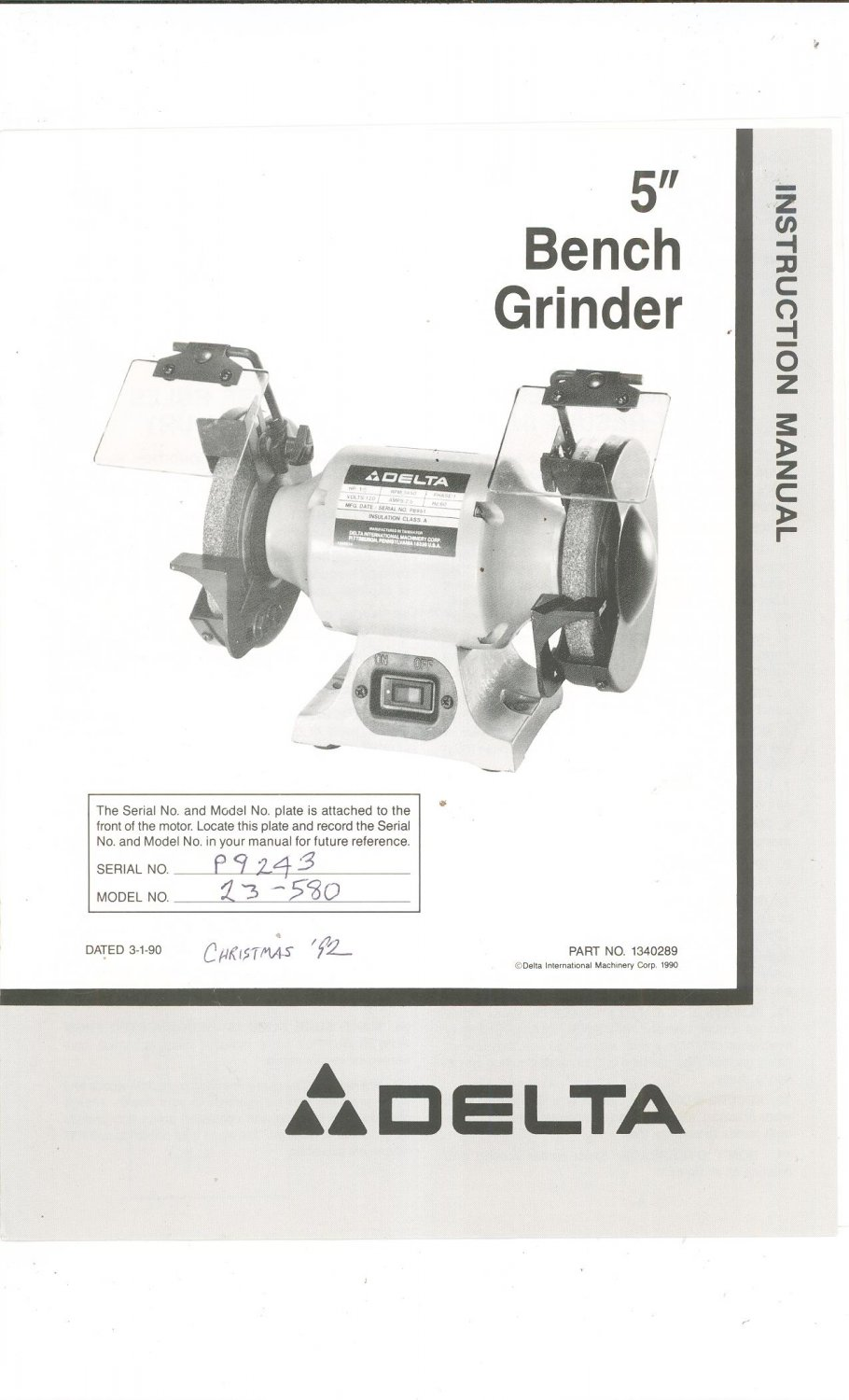 medium resolution of delta 5 bench grinder model 23 580 owners manual with parts list